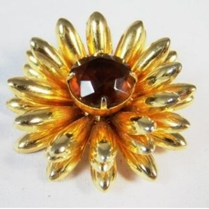 Gold Metal Amber Center Rhinestone Flower …